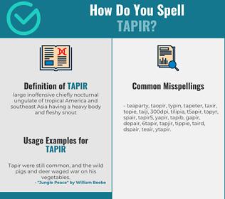 Correct spelling for tapir