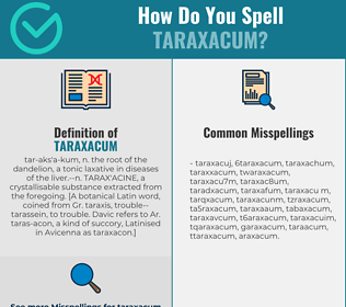 Correct spelling for taraxacum