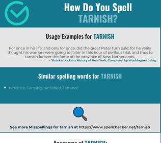 Correct spelling for tarnish