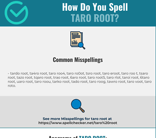 Correct spelling for taro root