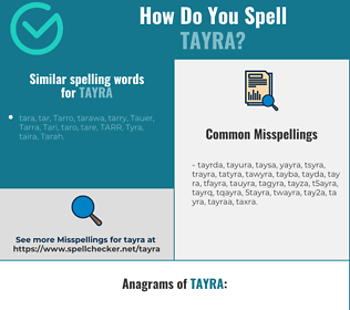 Correct spelling for tayra