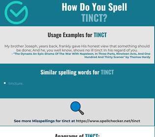 Correct spelling for tinct