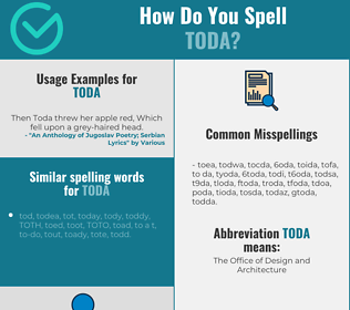Correct spelling for toda