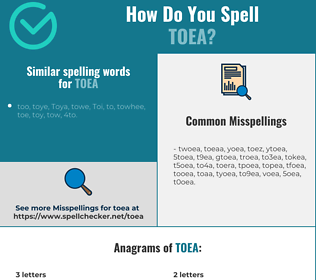 Correct spelling for toea