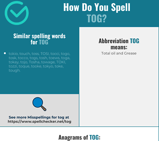 Correct spelling for tog