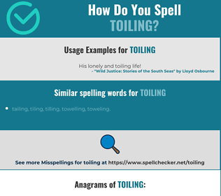 Correct spelling for toiling