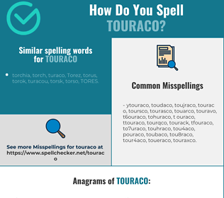 Correct spelling for touraco