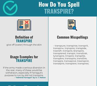 Correct spelling for transpire
