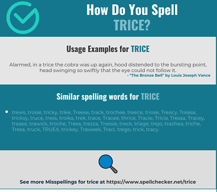 Correct spelling for trice