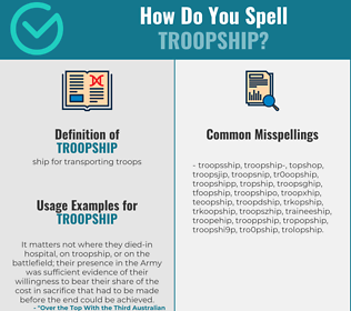Correct spelling for troopship
