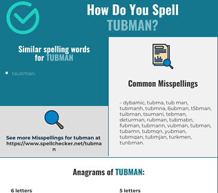 Correct spelling for tubman