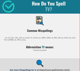 Correct spelling for tv