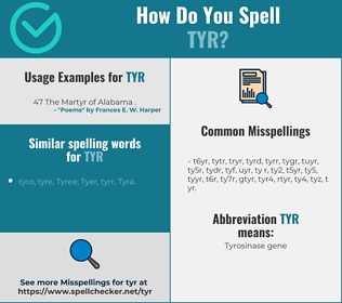 Correct spelling for tyr