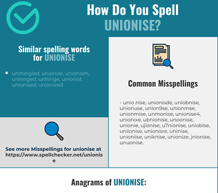 Correct spelling for unionise