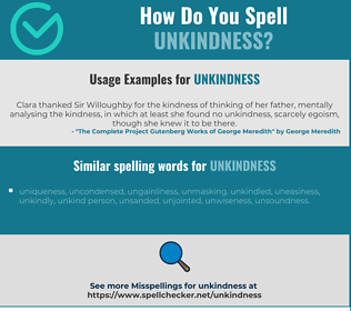 Correct spelling for unkindness