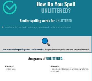 Correct spelling for unlittered