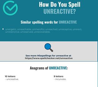 Correct spelling for unreactive