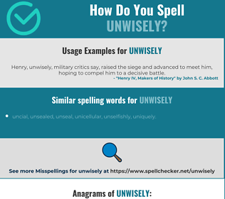 Correct spelling for unwisely