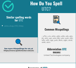 Correct spelling for utc