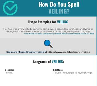 Correct spelling for veiling