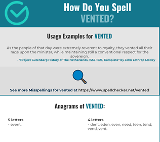 Correct spelling for vented