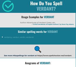 Correct spelling for verdant