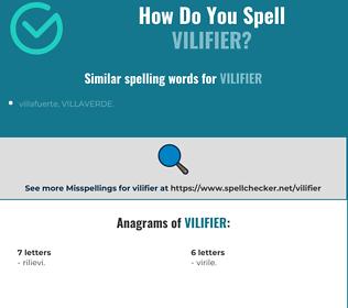 Correct spelling for vilifier
