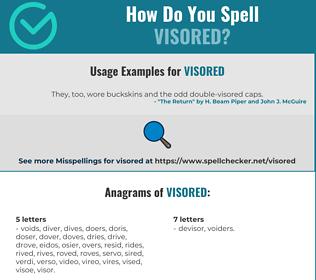 Correct spelling for visored