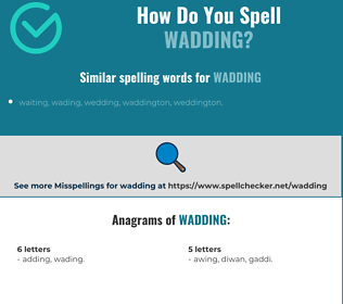 Correct spelling for wadding