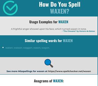 Correct spelling for waxen