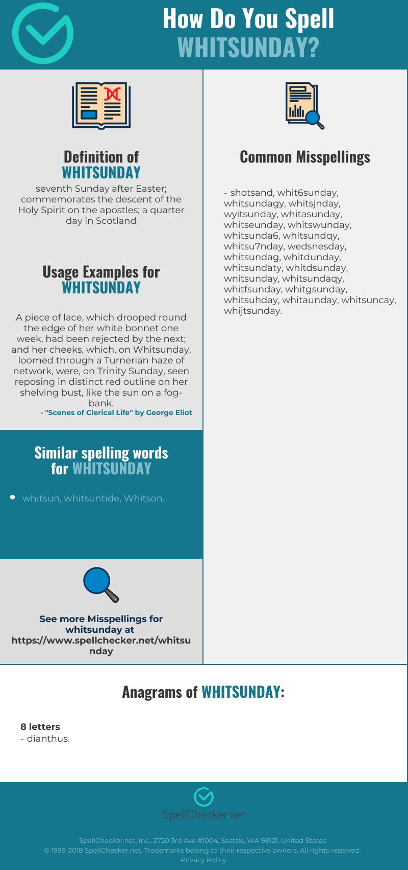 Correct spelling for whitsunday [Infographic] | Spellchecker net