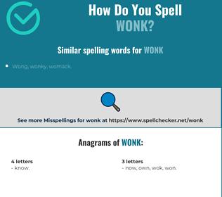 Correct spelling for wonk