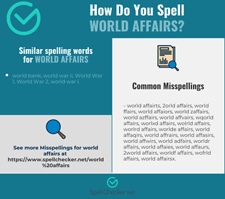 Correct spelling for world affairs