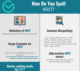 Correct spelling for writ