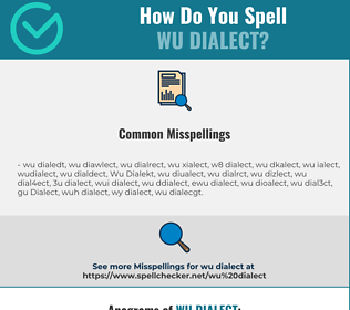 Correct spelling for Wu Dialect