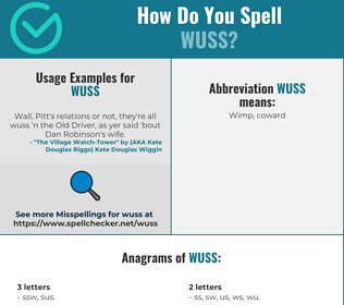 Correct spelling for wuss