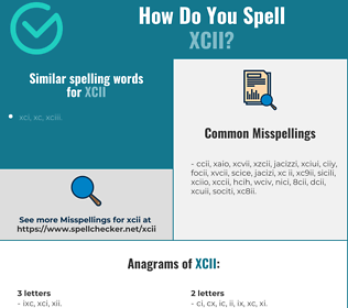 Correct spelling for xcii