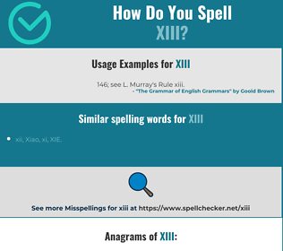 Correct spelling for xiii