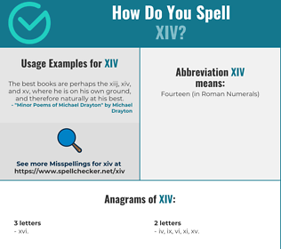 Correct spelling for xiv
