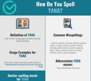 Correct spelling for yana