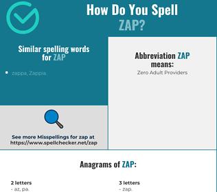 Correct spelling for zap