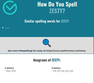 Correct spelling for zesty