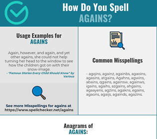 Correct spelling for Agains