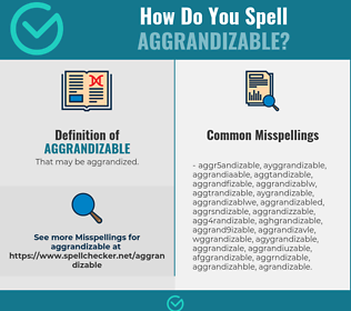 Correct spelling for Aggrandizable