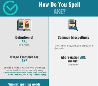 Correct spelling for Ake