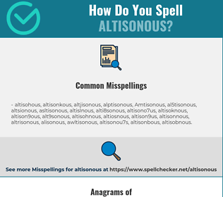 Correct spelling for Altisonous