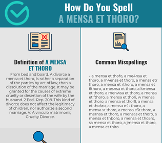 Correct spelling for A mensa et thoro