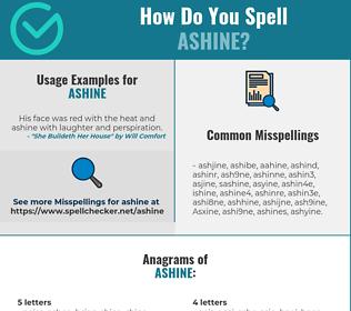 Correct spelling for Ashine