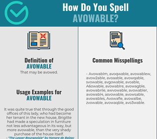 Correct spelling for Avowable