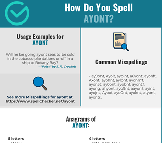 Correct spelling for Ayont